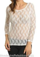 White Sheer Mesh Stretch Lace Long Sleeve Top S/M/L/XL #LBL-W