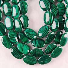 "13X18MM Green Malachite Gemstone Oval Loose Bead 15"""
