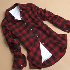Women Casual Button Down Lapel Shirt Plaids & Checks Flannel Shirts Tops Blouse!
