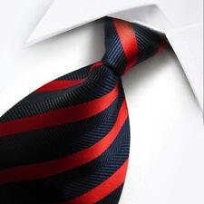 UK038 New soie bleu foncé rayures rouge classique tissé Jacquard Cravate Homme Tie