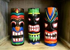 Tiki Mask Candle Holders Large Handmade Handcarved Painted Home Decor Gift