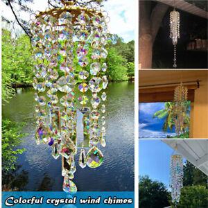 Crystal Curtains Pendant AB Coating Prisms Suncatcher Rainbow Wind Chimes  DM