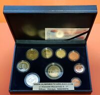 2005 ESPAÑA ESTUCHE PROOF FNMT 9 MONEDAS Cartera Euros Set Spain KMS Coffret
