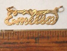 14k Solid Yellow Gold EMELIA Nameplate Diamond Cut Hand Made Design 1.0 Grams