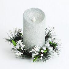Acabado en plata Navidad Vela De Cera Con Luz Led Y Corona