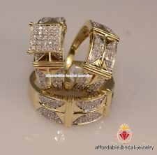 Yellow Gold Finish His Her Diamond Engagement Bridal Wedding Band Trio Ring Set