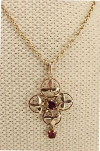 Edwardian / Victorian 9ct Rose Gold Amethyst Flower Pendant. NICE1