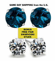 14K White Gold 2ct TGW Genuine Blue Topaz Stud Earrings