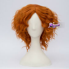 2Orange Short Curly Hair for Mad Hatter Anime Party Wig + Wig Cap Cosplay