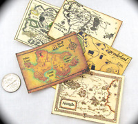 MYSTICAL MAGICAL MAPS (5) Miniature Dollhouse 1:12 Scale Charts Peter Pan Alice