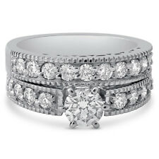 Round Cut  Antique Style 6 Prong Diamond Engagement Ring  Band Wedding Set R206S