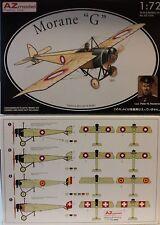 Morane G, 1:72, AZ MODEL, kit di plastica, pittura 4 varianti, da Aviatore WWI NUOVO