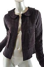 MARNI Black/Brown Nylon Blend Jacquard Knit Jacket w/Frayed Edges - 42/US 6