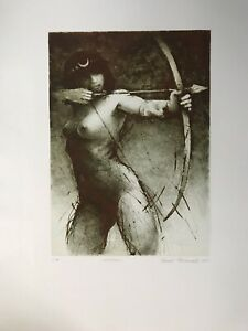 Artemis, 2013, E.A., Nude, Drypoint Engraving Signed Tomas Hrivnac