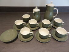 WEDGWOOD MOSS GREEN COFFEE SET - POT, WATER, SUGAR, 8 CUPS + 10 SAUCERS