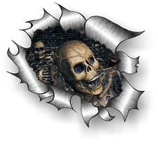 XXL Classic STRAPPATO metallo Rip gotico emo teschio adesivo in vinile per auto
