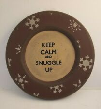 """Wood Round Plate Rustic """"Keep Calm and Snuggle Up� 5 3/4"""" Primitive Decor"""
