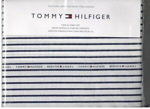 Tommy Hilfiger White Navy Twin XL Sheet Set White Blue TH Flag Logo 3 Pcs New