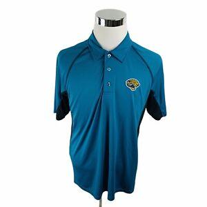 Jacksonville Jaguars NFL Team Apparel Blue Short Sleeve Polo Shirt Men's Large L