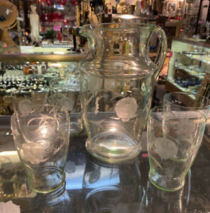 Antique Vaseline Pitcher And Hand Etcheched Glasses Very Thin Glass Beautiful