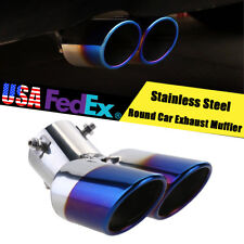 "Double Stainless Steel Round Exhaust Tip 2.5"" Inlet Silver + Blue US Shiping"