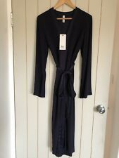 BNWT Bec & Bridge Navy Blue Midi Dress Tie Waist Size 8 RRP$280