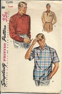 SIMPLICITY VINTAGE PATTERN 4544 SIZE SMALL MEN'S SHIRT 3 VERSIONS