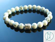 """Buddha Bianco Howlite Naturale Gemstone Bracciale con Perline 7-8"""" elasticizzata guarigione"""