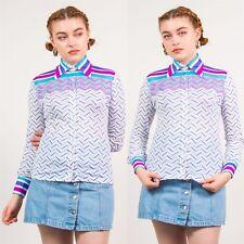 Años 70 camisa blusa de rayas azul y blanca para mujeres De colección Informal Retro 8 10