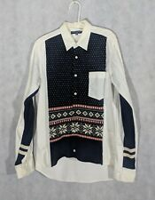 Comme des Garcons Homme FW2011 Deconstructed Fair Isle Knit Sweater Button Up Sh