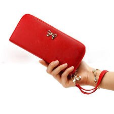 New Red Women Long Lady Leather Clutch Wallet Handbag PU Card Holder Purse