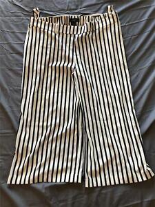 Midnight Velvet Women's Wide Leg Striped Gaucho Pants MW7 Black/White Size 18W
