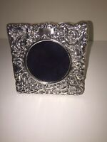 Vtg English Sterling Solid Silver Cherub Rococo Repousee Picture  Frame