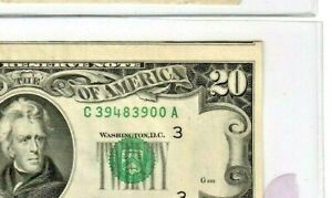 """$20 (2nd NOTE SHOWS) """"SHIFT ERROR"""" (PHILLY) $20 """"2ND NOTE SHOWS""""! 1977 RARE!!!!"""