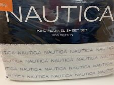 Nautica, Flannel 100% Cotton Sheet Set w Nautica Word Logo Pattern, King