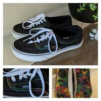 Vans Era Black With RAINBOW Stitching And Bottoms Men's 7 Women's 8.5