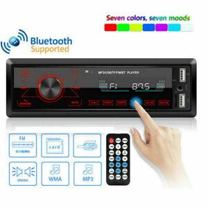 Single 1DIN HD Touch Screen Car Stereo In Dash MP3 Player FM USB Radio Bluetooth