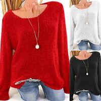 Women Winter Loose Knitted Sweater Long Sleeve Sweatshirt Pullover Jumper Tops