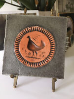 Vintage Mid Century Modern Scandinavian Bird Chicken Wall Plaque Tile Artwork