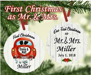 WEDDING MEMORIES 1st Christmas As Mr. & Mrs. Just Married Personalized Ornament