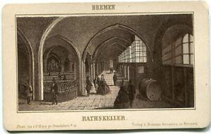 Orig. Pappfoto BREMEN, Ratskeller, Foto F. Rau jr. FFM um 1880