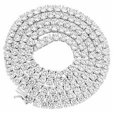 "Solitaire 1 Row Chain White Gold Tone 20"" Tennis Necklace Men Womens Lab Diamond"