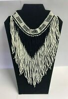 Native American Style Fringe Black & White Glass Seed Bead Choker Necklace