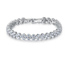 925 Sterling Silver Diamond Created Women's Wedding Bridal Roma Star Bracelet T9