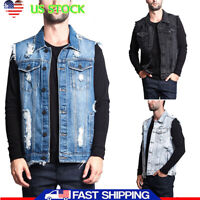 Men Causal Denim Vest Jean Coat Collar Shirt Biker Tops Jacket Waistcoat Outwear