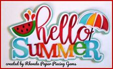 HELLO SUMMER title paper piecing for Premade Scrapbook Pages DIE CUT by Rhonda
