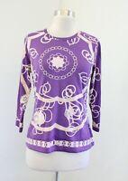 J McLaughlin Purple Catalina Cloth Nylon Scarf Chainlink Print Top Blouse Size S