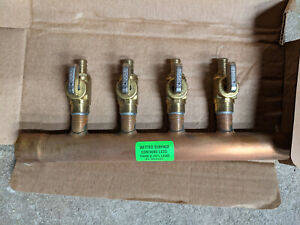 """4 Port 1/2"""" PEX Manifold with Valves by Sioux Chief 672XV0442 SWEAT"""