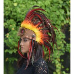 Indian Headdress Orange Yellow Hat Feather Warbonnet Mohawk Native American