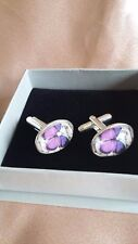 Hand-made Silver-Plated 18x13mm Oval Purple Butterfly Cufflinks